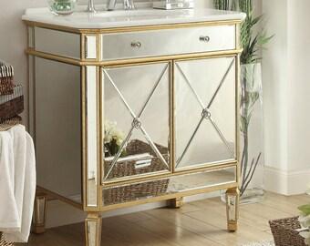 """32"""" Gold Leaf Austell Bathroom Sink Vanity YR-504GC"""