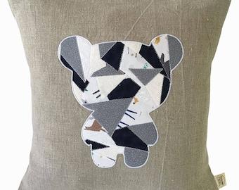 Teddy bear linen pillow cover - pillow case - natural linen - decorative pillow - modern nursery decor - baby gift.