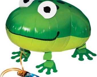 Green FROG Walking Pet Animal Balloons Own your pet Balloon Air Filled Balloons Birthday Party Girl Birthday Party Cricket Bug Water Fish
