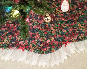 Floral Quilted Christmas Tree Skirt