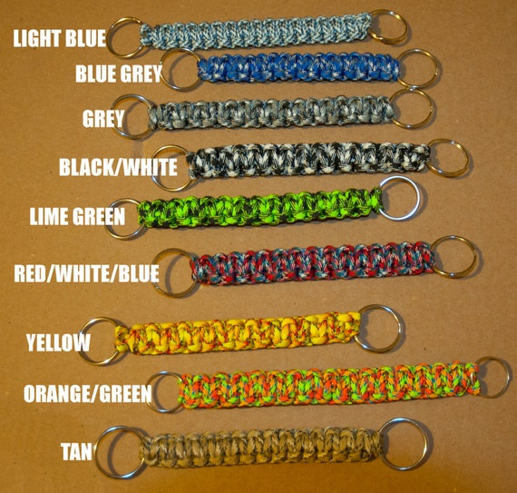 "Paracord Keychain Camo Colors with rings at both ends 6"" length 6 feet of paracord"