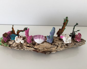 driftwood statue, sea shells, Coastal, Nautical Decor