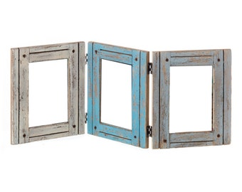 """Collage Picture Frame Antique White Blue Torquoise Grey Rustic Wood Vintage Distressed Shabby Chic - Displays (3) 4""""x6"""" Photos"""