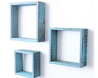 Reclaimed Barn Wood Rustic Vintage Blue Torquoise Distressed Open Box Floating Furniture Shelves