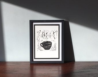 Hot Coffee Two, Fine Art Print, Original Relief Print