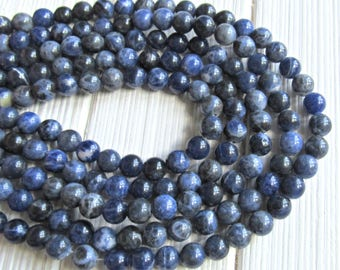 8mm Sodalite beads, gemstone beads, blue stone, 8mm beads, full strand, AA quality, blue beads, blue sodalite, sodalite gemstone, genuine