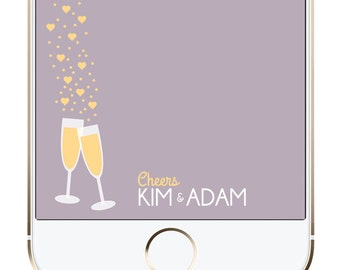 Custom Wedding Snapchat GeoFilter | Champagne Glasses