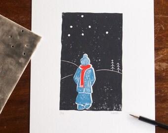 A walk through starry night - handprinted linoprint - LIMITED EDITION