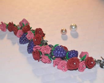 New handmade polymer clay bracelet, roses and fruits bracelet, colorful jewelry, woman jewelry, floral jewelry