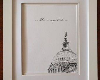 Print of Pen & Ink Architecture Sketch - 'Rooftops of DC' Series - The Capitol