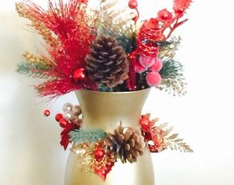 Gold Holiday Vase