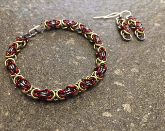 Byzantine chainmaille bracelet and earring set
