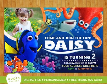 Finding dory invitation, Finding dory party, Finding dory birthday, Finding dory, FREE Thank you Card!