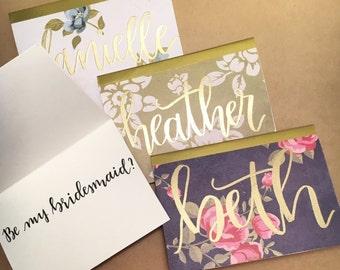Custom Embossed Bridesmaid Ask Cards