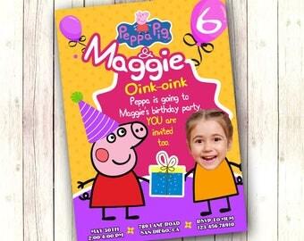 Peppa Pig Birthday Invitation, Peppa Pig invitation, Peppa Pig invites, Peppa pig printables, Peppa Pig birthday, Peppa digital invitation