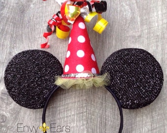 Mickey Mouse Ears, Red, Minnie Mouse Birthday Ears,Mouse Ears, Disney Ears, Birthday Party Hat,