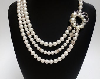 Wedding Necklace, Statement Bridal Necklace, Pearl Bridal Jewelry. ALISSA