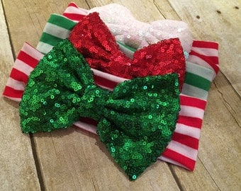Christmas headband, Christmas messy bow, Girls Christmas
