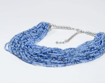 Blue Multi-Strand Seed Bead Necklace 18""