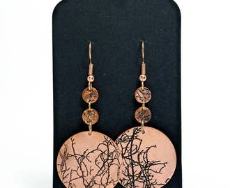 Copper Dangle Disc Earrings | Copper Jewellery | Handmade | Etched Copper | Gift for her | Textured Copper | Embossed |