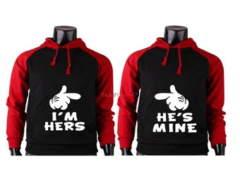 I'm Hers He's Mine Couple Raglan Hoodies Matching Hoodies For Couples pärchen pullover Couple Matching Sweatshirts Cute Couple Hoodies