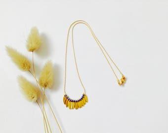 "Blue ""Sioux"" necklace in 14K Gold Filled, Ethnic necklace, Golden necklace, Comme les Blés."