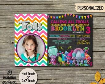 Trolls Invitation / Trolls Birthday Invitation / Disney Trolls / Trolls Birthday / Trolls Party / Trolls Invite / Trolls Printable / Trolls