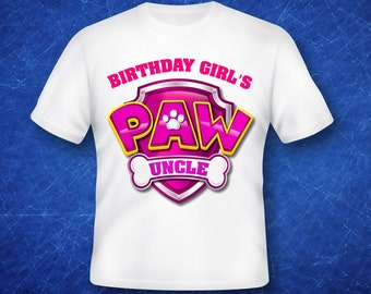 Birthday Girl's Uncle Paw Patrol iron on transfer, high resolution, digital files only, instant download
