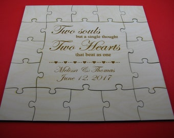 Guest book puzzle, wedding guest book puzzle, wooden, guest book alternative, puzzle guest book, jigsaw guest book
