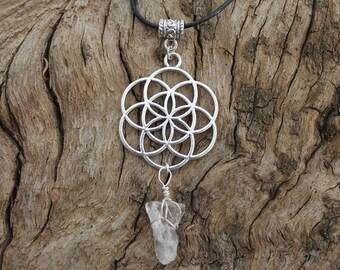Geometric glass pendant necklace