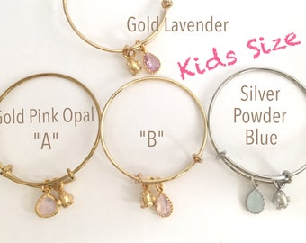 "KIDS ""CHICK"" BRACELET - Gold/Silver Plated Charm Bangle Bracelet - Gold/Silver Plated Chick Charm  (Select Your Stone)"