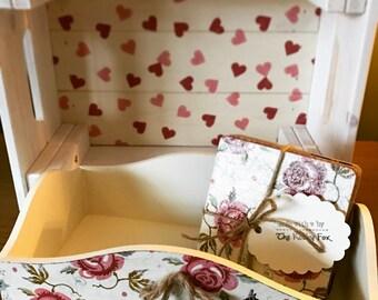White Wooden Crate Emma Bridgewater or Cath Kidston Style