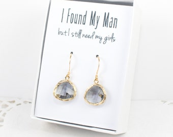 Charcoal Gold Earrings, Gold Charcoal Earrings, Gray Wedding Jewelry, Bridesmaid Gift, Bridesmaid Earrings, Charcoal Bridal Accessories