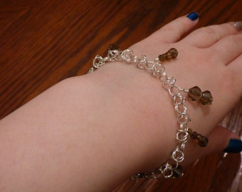 Handmade Byzantine Silver Bracelet with Brown Beads