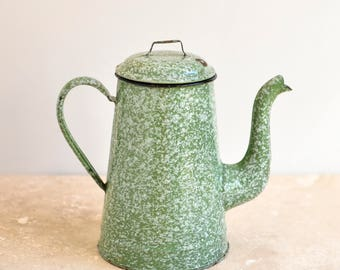 Green and White French Enamel Coffee Pot, Enamel Coffee Pot, French Vintage, French Enamelware, French Coffee Pot, Graniteware, Enamelware