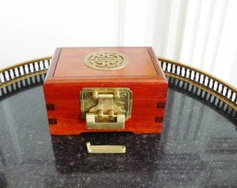Asian Jewelry Box Solid Wood with Brass Details Lock and Key China
