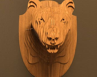 Panther head 3D model,animals ,CNC ,decoration,decorative ,art ,head ,interior,souvenir ,trophy ,wall ,wood, wooden vector graphic,laser,dxf
