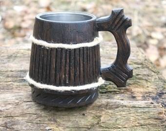 Dark Wooden beer mug, Beer mug wood, Wedding gift, Personalized beer mug, Wood mug, Beer mug, Chope à bière bois