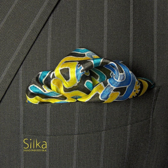 Hand painted silk pocket square, blue - yellow pocket square, silk pocket square,  gifts for him, hand painted silk,  pocket square,