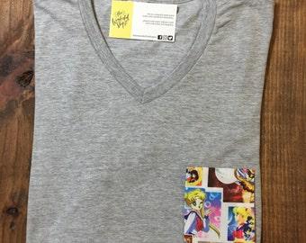 Sailor Moon | Vintage | Custom Pocket Tee | T-shirt| V-neck | Shirt | Onesie | Bodysuit| Family | Mens | Womens | Kids | Baby