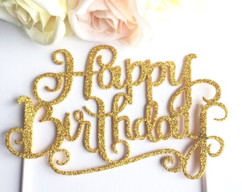 Happy Birthday Gold Glitter sparkly Cake Topper