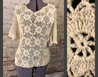 Vintage boho style cream/neutral crocheted top - swimming suit cover up