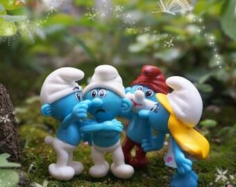 Fairy Garden Miniature , 1set 4* Smurfs  , [The Smurfs] Mini Supplies Succulent Terraium DIY Accessories Gift for Family Friend