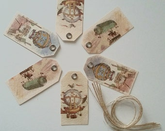 6 x Tags with strings - Vintage Hot Air Balloons