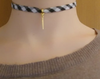 Black and white gingham with Golden Feather charm necklace