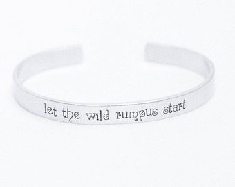 Let The Wild Rumpus Start / Literary Bracelet / Literary Jewelry / Where The Wild Things Are / Book Lovers Jewelry / Quote Jewelry