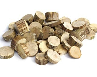 "100+ Dry Small No Bark 1"" Wood Slices, Tree Slice Assortment, Various No bark Wood Circles, Branch Slices, Rustic Wood, Drift wood slices"