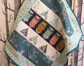 Baby Quilt Tummy Time Small Quilt Blue Owl Native Indian Woodland Theme Teepee Stag