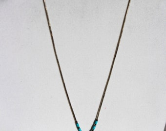 Vintage Kokopelli Flute Player Necklace Sterling Silver & Turquoise