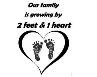 2 temporary tattoos / pregnancy announcement / Our family is growing 2 feet & 1 heart / baby / pregnant women / heart / foot / fake tattoo